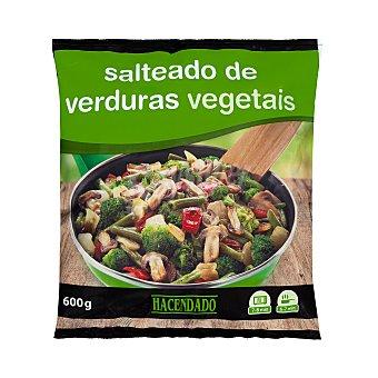 Hacendado Salteado verduras (judia verde, cebolla, pimiento rojo, champiñon y brocoli) congelado Paquete 600 g