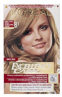 EXCELLENCE Tinte Rubio Claro Ceniza nº 8.1 crema color triple cuidado con Pro-keratina + Ceramida + Colageno caja 1 unidad