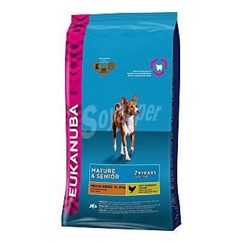 Eukanuba Pienso para perros adultos y senior medianos Eukanuba + 7 pollo 12 Kg