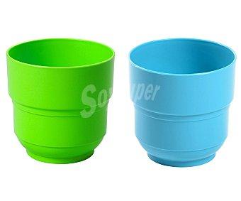 EDA Vaso de 7.8 centímetros, fabricado en plástico de color verde o azul 1 unidad
