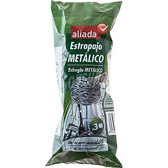 Aliada Estropajo metálico de acero inoxidable Envase 3 unidades