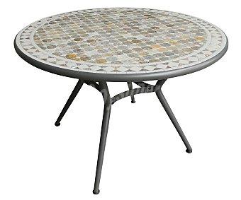 GARDEN STAR Mesa redonda con estructura de forja color antracita y tablero tipo mosaico, modelo Maroc de 110 centímetros 1 unidad