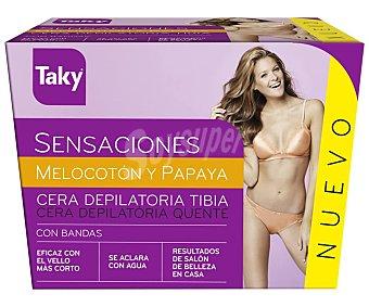 Taky Cera depilatoria melocotón y papaya con bandas Tarro 250 ml