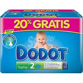 Dodot Toallitas infantiles pack 2 envases 72 unidades (20% gratis ya incluido en el pack) Pack 2 envases 72 unidades