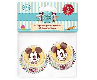 DISNEY Cápsulas o moldes con diseño Mickey para magdalenas y cupcakes de tamaño mediano, modelo Family Bakery 60 unidades