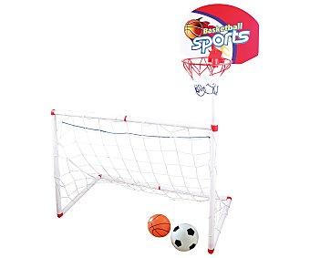 Deportes Set deportivo con portería, canasta y balón deportes.