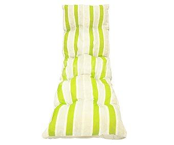 Productos Económicos Alcampo Cojín para tumbona de rayas verdes y grises de 185x55x8 centímetros, lavable y de gran resistencia al exterior 1 unidad