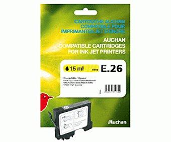 Auchan Cartuchos E26 Amarillo 1 Unidad - Compatible con las Impresoras: epson stylus C64 / C64 1u