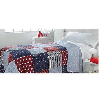 CASACTUAL Colcha Bouti con estampado de estrellas y rayas en tonos rojos y azul para cama 105 cm