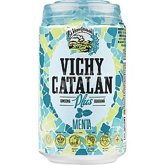 Vichy Catalán Agua con gas ginseng-menta Lata 33 cl