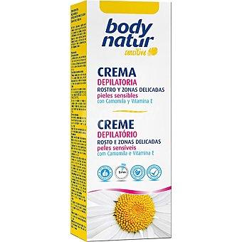 BODY NATUR Sensitive crema depilatoria rostro y zonas delicadas con camomila y vitamina E pieles sensibles Tubo 50 ml