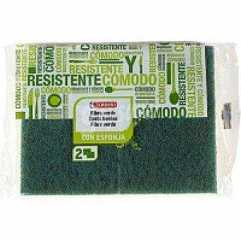 Eroski Estropajo verde con esponja Pack 3 unid