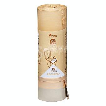 Bosque Verde Bolsa basura cubo pequeño 10 litros especial restos organicos cierre facil 45 x 47 (beige) Paquete 20 u