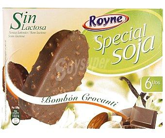 ROYNE Bombón almendrado de soja con sabor a vainilla recubierto de chocolate negro y trocitos de galleta y avellana 6 unidades de 100 mililitros