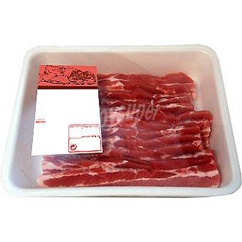 panceta de cerdo en filetes bandeja familiar peso aproximado bandeja 1 kg