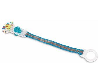 ÑUBY Chupete silicona con pinza y tirador con aro color azul nuby