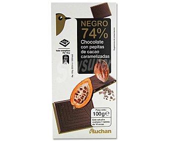 Auchan Tableta chocolate negro 74% amargo con pepitas de cacao 100 gramos