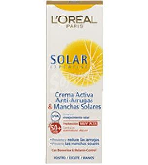 Solar Expertise L'Oréal Paris Crema solar facial activa anti Arrugas & manchas factor de protección 50+ Solar Expertise, 75 ml.