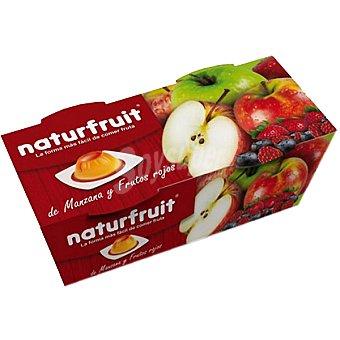NATURFRUIT Postre de manzana y frutos rojos 88% flan de frutas y 12% sirope de frutas Pack 2 unidades 100 g