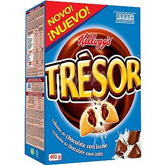 Trésor Kellogg's Trésor Cereales de desayuno rellenos de chocolate con leche Paquete 450 g
