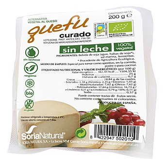 Soria Natural Quefu queso de soja curado sin leche 100% vegetal envase 200 g