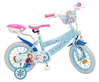 Disney Frozen Bicicleta infantil con ruedines de la película Frozen, con ruedas de 35cm. (14''). disney