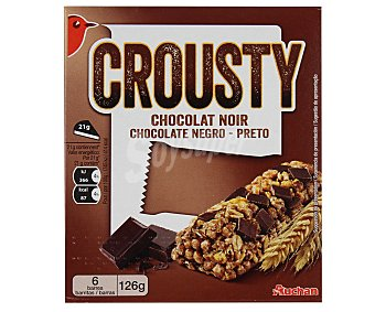 Auchan Barritas de cereales con trozos de chocolate negro 126 gramos