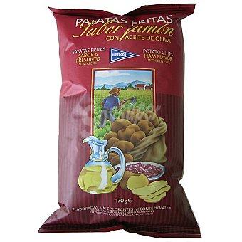 HIPERCOR patatas fritas sabor jamón con aceite de oliva  bolsa 170 g