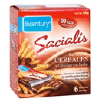 Bicentury Sacialis barrita de cereales y chocolate con leche  6 barritas (120 g)