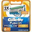 Power recambio de maquinilla de afeitar estuche 6 unidades Estuche 6 unidades GILLETTE Fusion Proglide