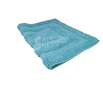 Auchan Alfombra de baño confeccionada en 100% algodón tejido nudo color azul, 40x60 centímetros, 850gramos/metro² de densidad 1 unidad
