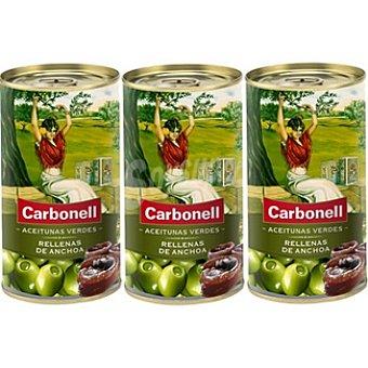 Carbonell Aceitunas rellenas de anchoa Pack 3 latas 150 g