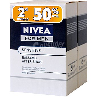Nivea After shave bálsamo Sensitive For Men (pack precio especial 2ª unidad al 50%) Pack 2 frasco 100 ml