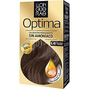 Llongueras Tinte Optima chocolate bombón nº 6.41 coloración permanente caja 1 unidad con aceites de rosa mosqueta y macadamia Caja 1 unidad