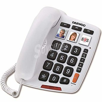 DAEWOO DTC760 Teléfono hilos con teclas grandes en color blanco 1 unidad