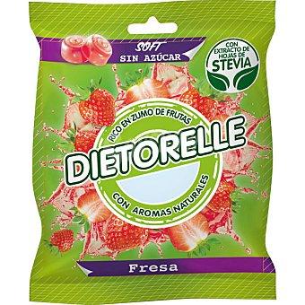 DIETORELLE caramelo de fresa rico en zumos de frutas con extracto de hojas de stevia  bolsa 70 g