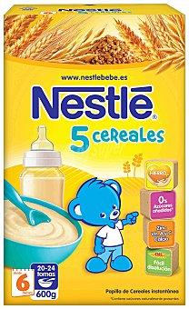 Nestlé Papillas 5 Cereales papilla instantanea desde 6 meses  envase 600 g