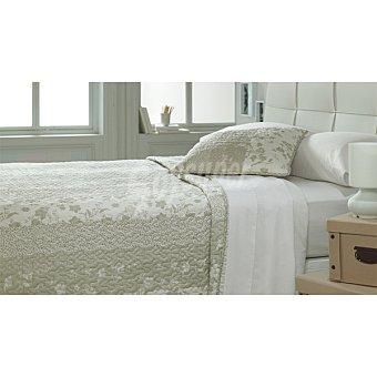 CASACTUAL MM 8833-2 Colcha bouti con franjas en tonos beige para cama 90 cm