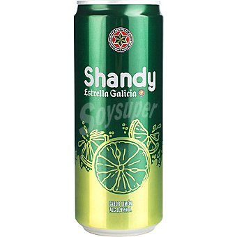 Estrella Galicia Shandy Cerveza sin alcohol sabor limón Lata 33 cl