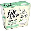 Yogur natural con un toque de stevia triple zero 0% m.g. 0% azúcares añadidos 0% edulcorantes pack 4 unidades Envase 115 g Light & Free Danone