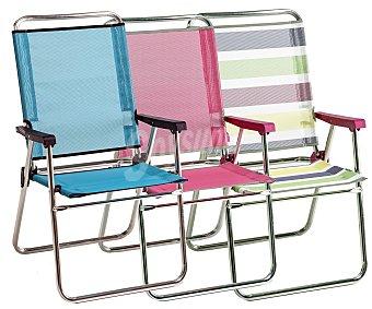 FIBERLINE Silla marinera plegable para camping y playa. Fabricada en tubo redondo de aluminio y con asiento y respaldo alto de textileno 1 unidad