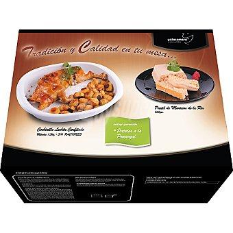 YATECOMERE Menú completo cochinillo lechón confitado con patatas a la provenzal y pastel de cabracho Caja 2700 g