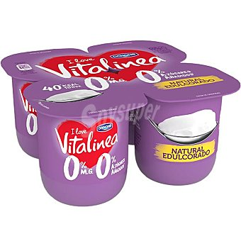 Vitalínea Danone Yogur desnatado 0% materia grasa, natural edulcorado 4 x 125 g