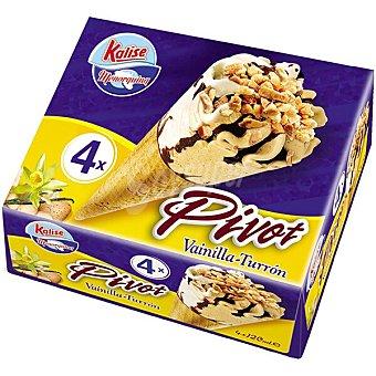 Kalise Pivot cono de helado de vainilla y turron 4 unidades estuche 280 g 4 unidades