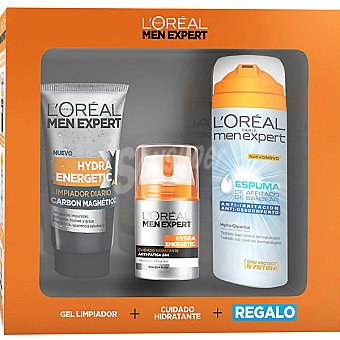 Men Expert L'Oréal Paris Pack Vitalidad con Cuidado Hidratante Vitalift 5 Anti-Edad Integral + Roll-on Ojos + Espuma de Afeitar Anti-irritación Spray pack