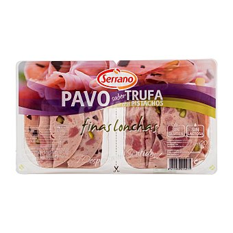 Carnicas Serrano Fiambre pavo sabor trufa con pistachos lonchas finas Paquete pack 2 x 100 g - 200 g