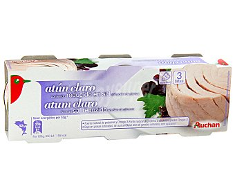Auchan Atún claro en aceite de girasol bajo en sal Pack 3 unidades de 52 gramos