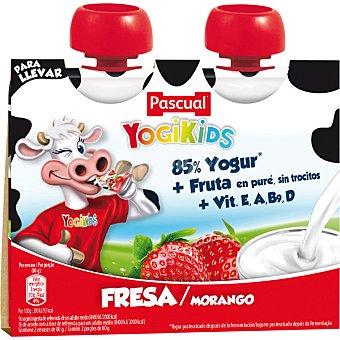 Pascual yogikids Batido de fresa 85% yogur + fruta en puré sin trocitos pack 2 bolsas 80 g Pack 2 bolsas 80 g