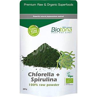 BIOTONA Polvo puro de algas Chlorella y Spirulina 100% Bio  envase de 200 g