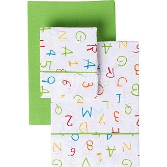 CASACTUAL Letras y Números Juego de cama estampado en color verde para cama 90 cm